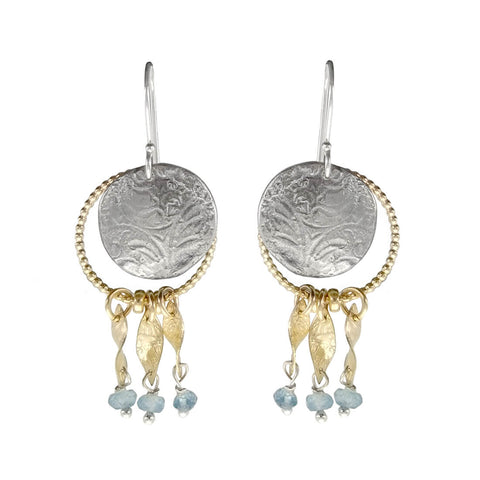 Israeli Gold Silver Etched Blue Topaz Dangle Earring