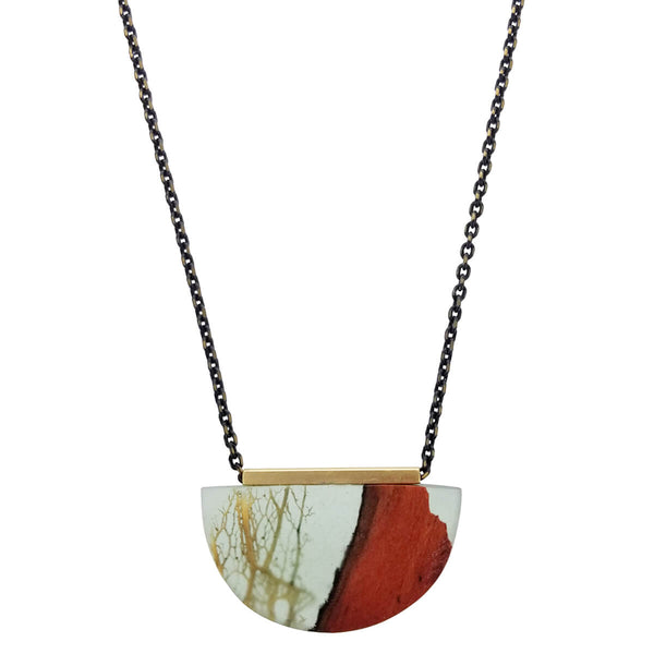 Israeli Ilana Hovev Carob Wood Cactus Necklace