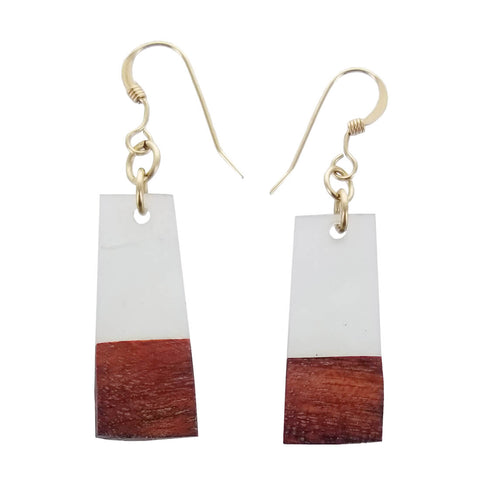Israeli Ilana Hovev Olive Tree Wood Mini Bar Earrings