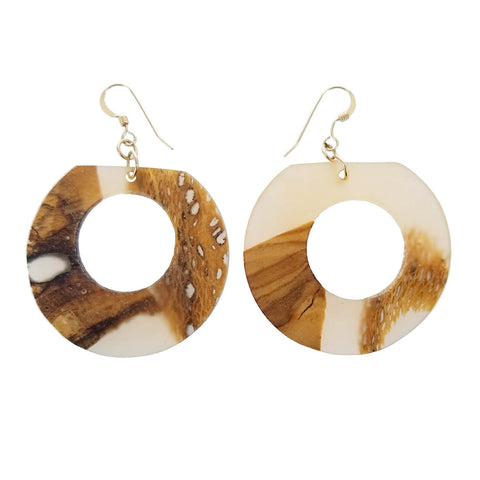 Israeli Ilana Hovev Olive Wood Cactus Wisp Hoop Earrings