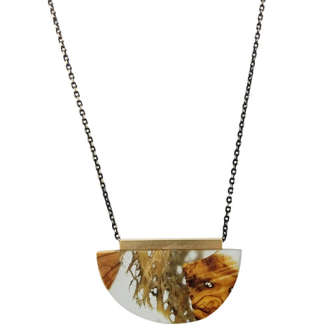 Israeli Ilana Hovev Draping Cactus Olive Wood Necklace
