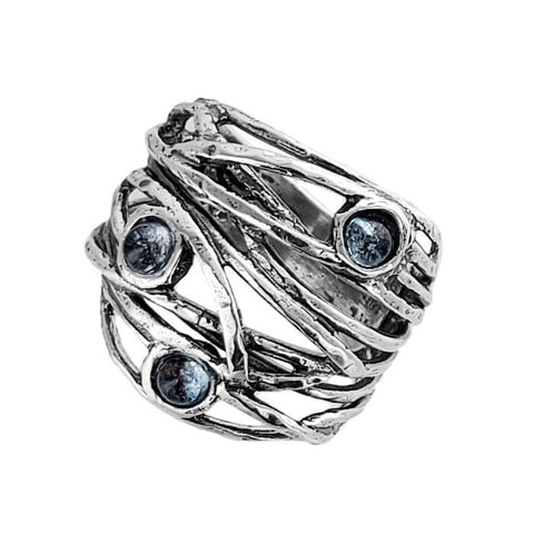 Israeli Intertwing Vines Holding Pools Of Blue Topaz Ring Another View