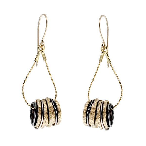 Israeli Interwoven Gold Silver Cylinder Swing Earrings