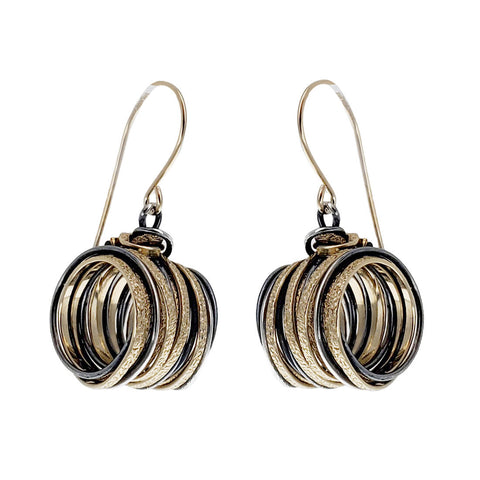 Israeli Interwoven Gold Silver Cylindrical Strands Earrings Side View