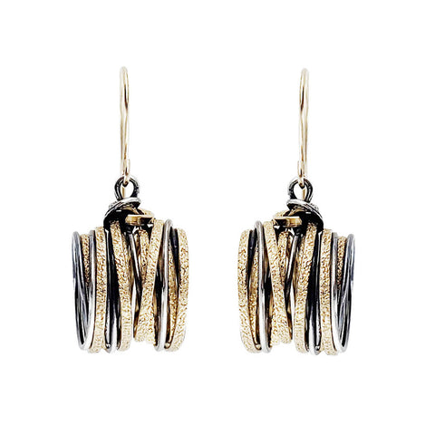 Israeli Interwoven Gold Silver Dynamic Strands Earrings