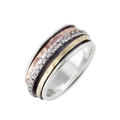 Israeli Ithil Embraced Sparkling Spinner Band Ring