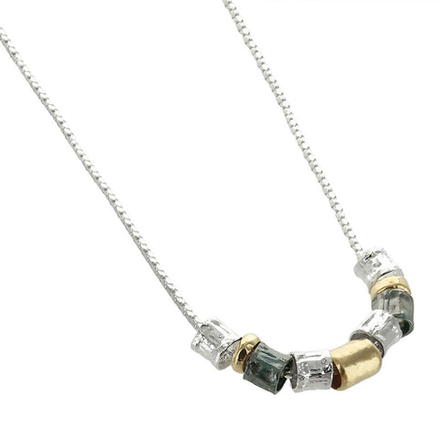 Israeli Gold Filled Silver Black Sterling Necklace By Ithil