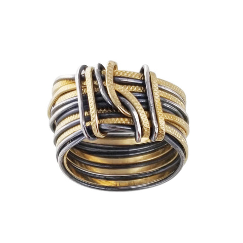 Israeli Ithil Interwoven Slender Strands Ring Back View