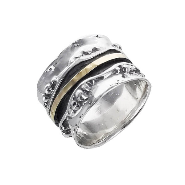 Israeli Ithil Pebbles And Gold Spinner Band Ring