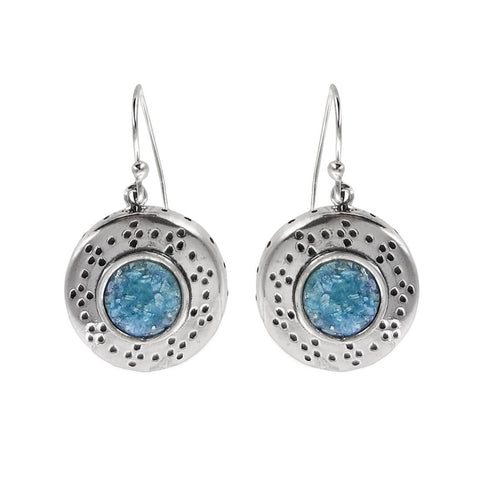 Israeli Ithil Roman Glass Round Starry Sky Earrings