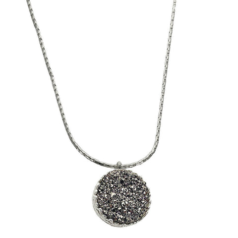 Israeli Sterling Silver Druzy Circle Necklace By Ithil