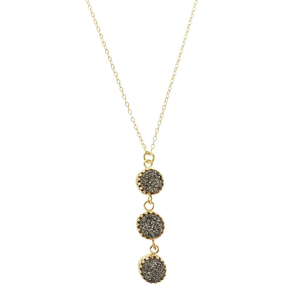 Israeli Triple Druzy Drop Necklace By Ithil