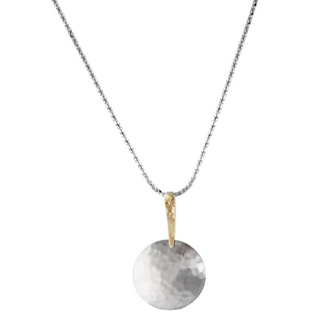 Israeli Mixed Metal Hammered Dome Ithil Necklace