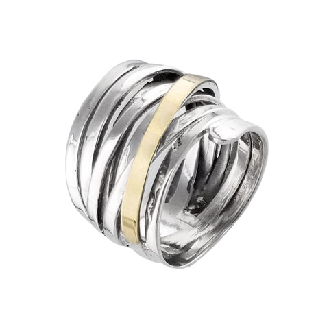 Israeli Contemporary Open Weave Sterling Gold Ithil Ring