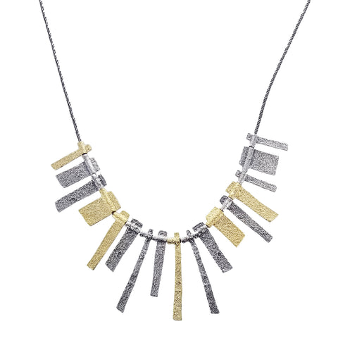 Israeli Mixed Metal Textured Tab Necklace