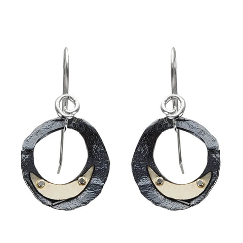 Israeli Night Sky Moon Sliver Earrings