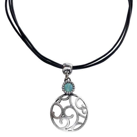 Israeli Open Scroll CZ Leather Necklace