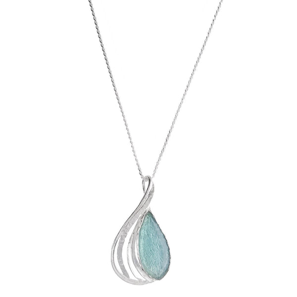 Israeli Roman Glass Gentle Waves Marquise Pendant Necklace