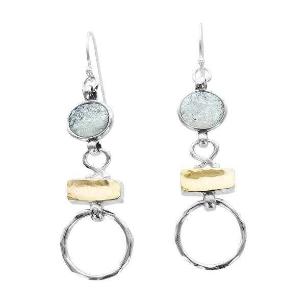 Israeli Roman Glass Hoop Mixed Metal Ithil Earrings