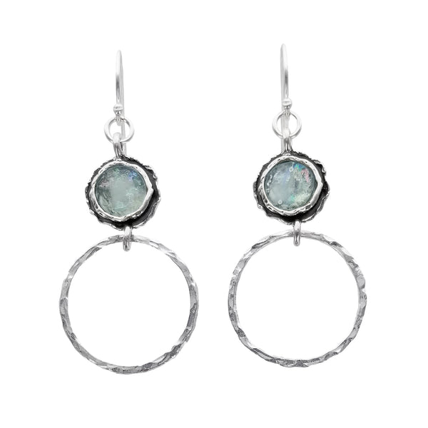 Israeli Roman Glass Ithil Hammered Hoop Earrings