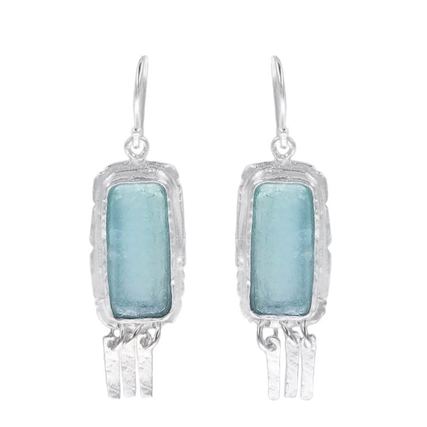 Israeli Roman Glass Organic Rectangle Fringe Earrings