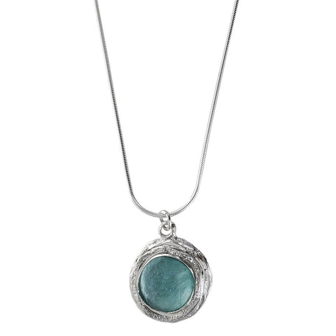 Israeli Roman Glass Pool of Mediterranean Blue Green Pendant Necklace