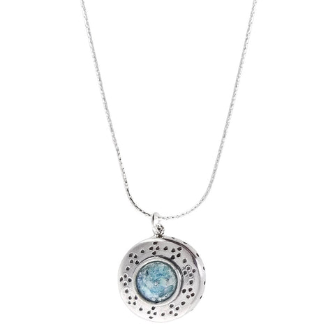 Israeli Roman Glass Starry Sky Pendant Necklace