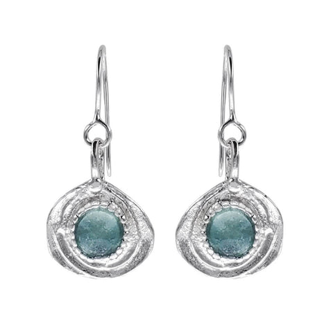 Israeli Roman Glass Swirl Dotted Drop Earrings
