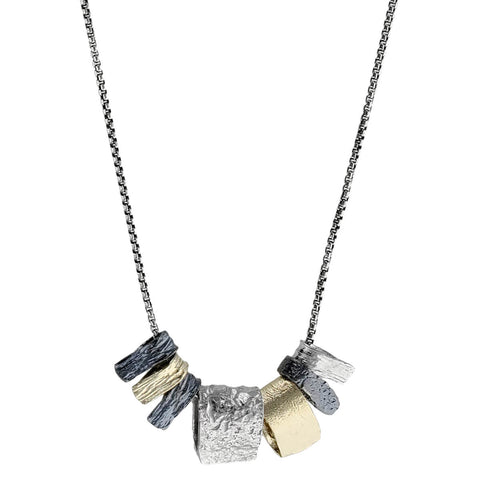 Israeli Shades Of Silver Gold Desert Landscape Necklace