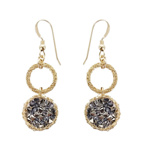 Israeli Smadar Sarid Golden Hoops Shimmering Black Crystals Earrings
