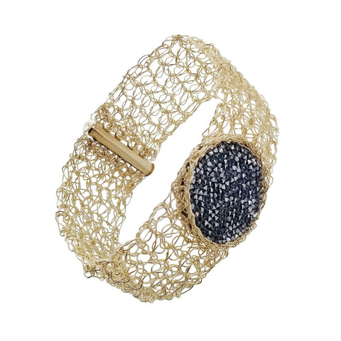 Israeli Smadar Sarid Golden Shimmering Black Crystals Bracelet Another View