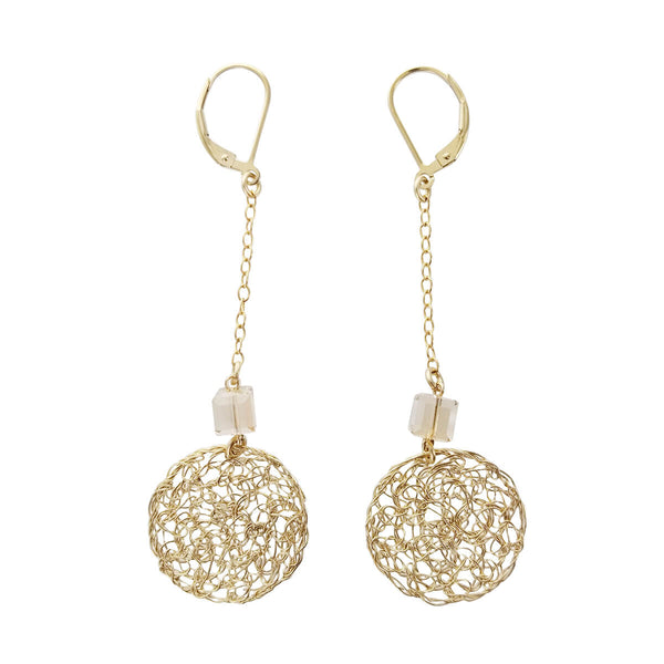 Israeli Smadar Sarid Swinging Golden Mesh Circle Earrings
