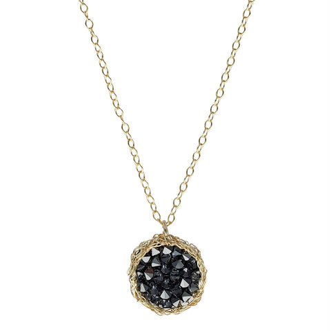 Israeli Smadar Sarid Woven Nest Of Black Crystals Pendant Necklace