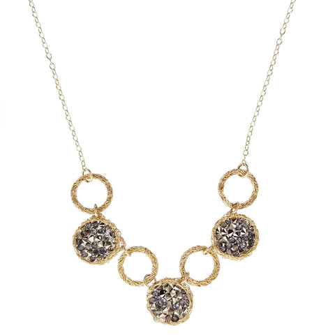 Israeli Smadar Sarid Golden Circles Shimmering Black Crystals Necklace