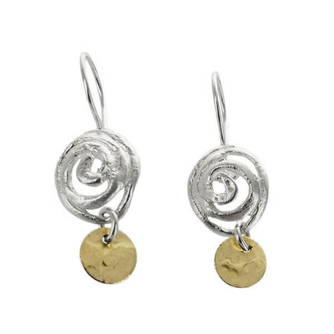 Israeli Organic Spiral Circle Drop Earrings