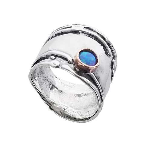 Israeli Sterling Tendrils With Opal Band Ring Another View