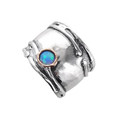Israeli Sterling Tendrils With Opal Band Ring