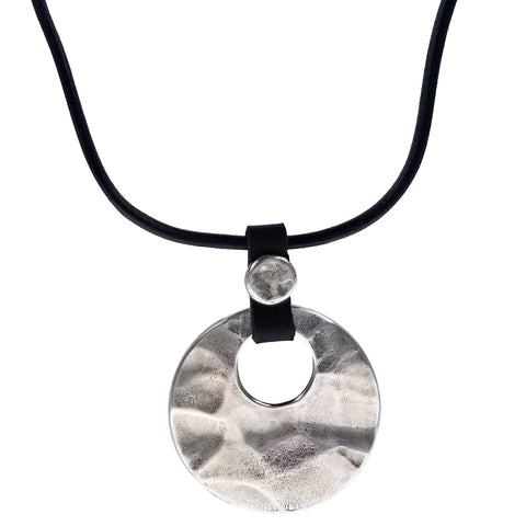 Israeli Gently Faceted Round Silver Pendant Leather Necklace