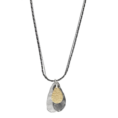 Israeli Dganit Hen Tri-Color Teardrops Necklace