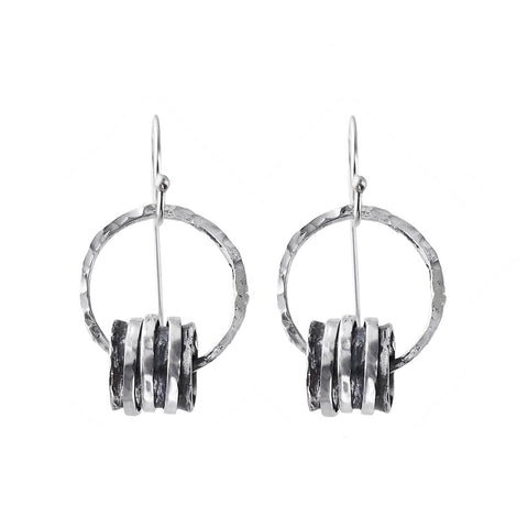 Israeli Triple Sterling Silver Spinner Ring Hoop Earrings