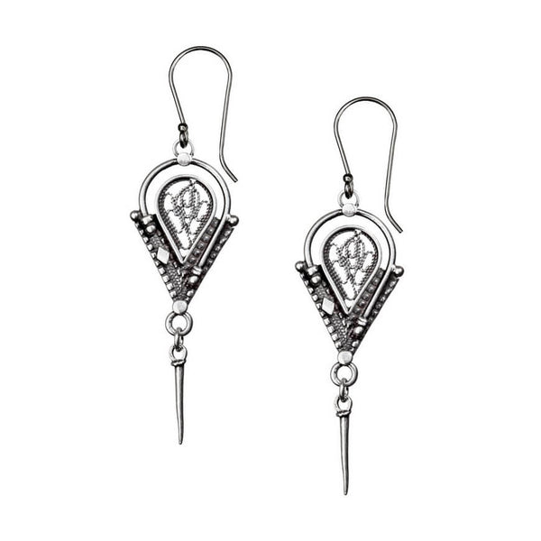 Israeli Yemenite Arched Angular Drop Earrings