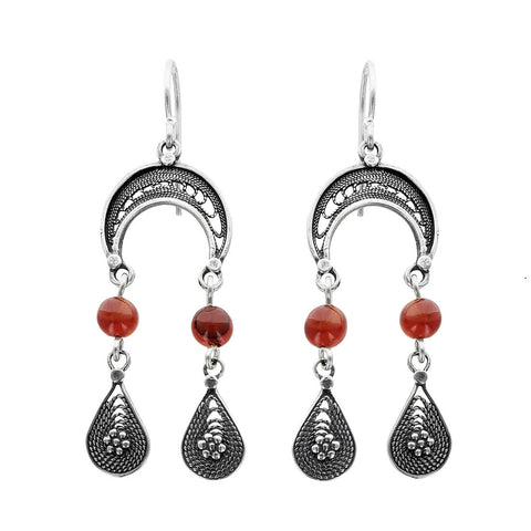 Israeli Yemenite Crescent Moon Earrings
