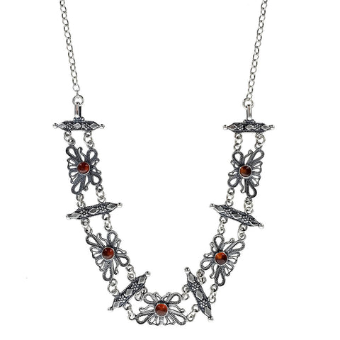 Israeli Yemenite Filigree Carnelian Flower Link Necklace
