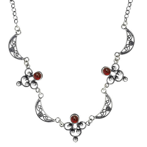 Israeli Yemenite Filigree Crecent Carnelian Necklace