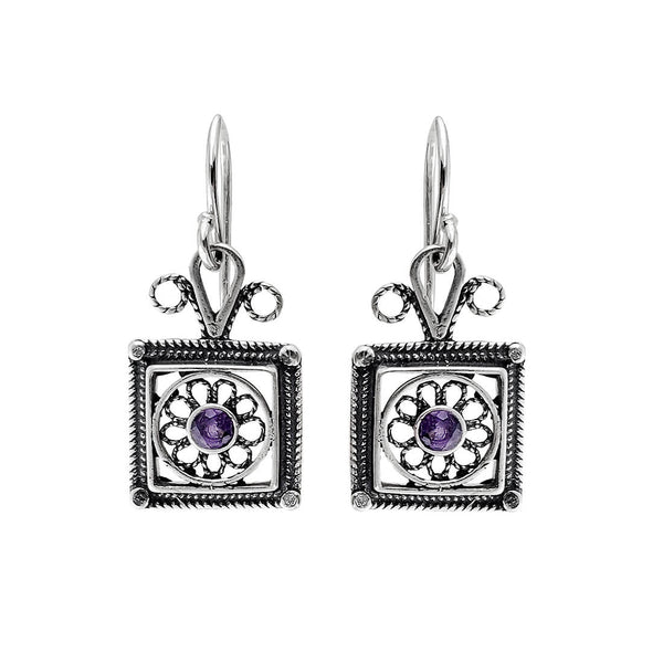 Israeli Yemenite Filigree Framed Amethyst Earrings