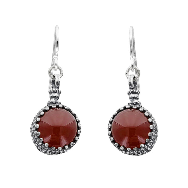 Israeli Yemenite Filigree Set Carnelian Drop Earrings