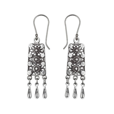 Israeli Yemenite Flower Path Drop Earrings