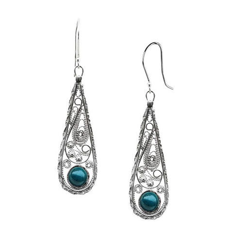 Israeli Yemenite Lacy Filigree Teardrop Eilat Stone Earrings