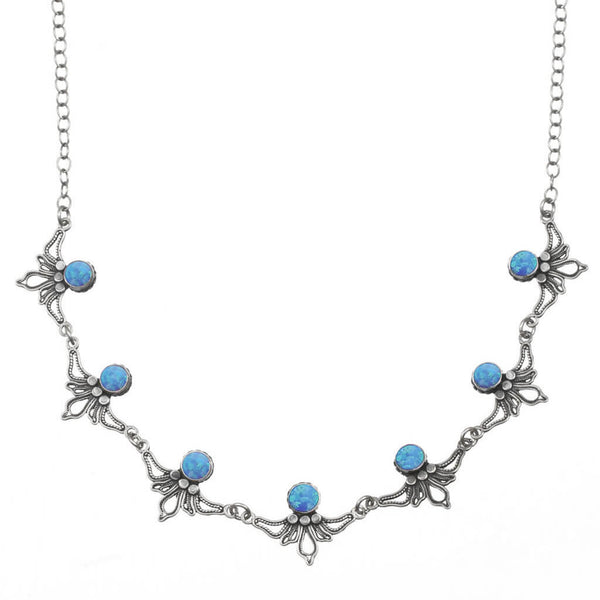 Israeli Yemenite Linked Dancing Flowers Opal Necklace