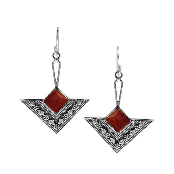 Israeli Yemenite Looped Carnelian Drop Earrings